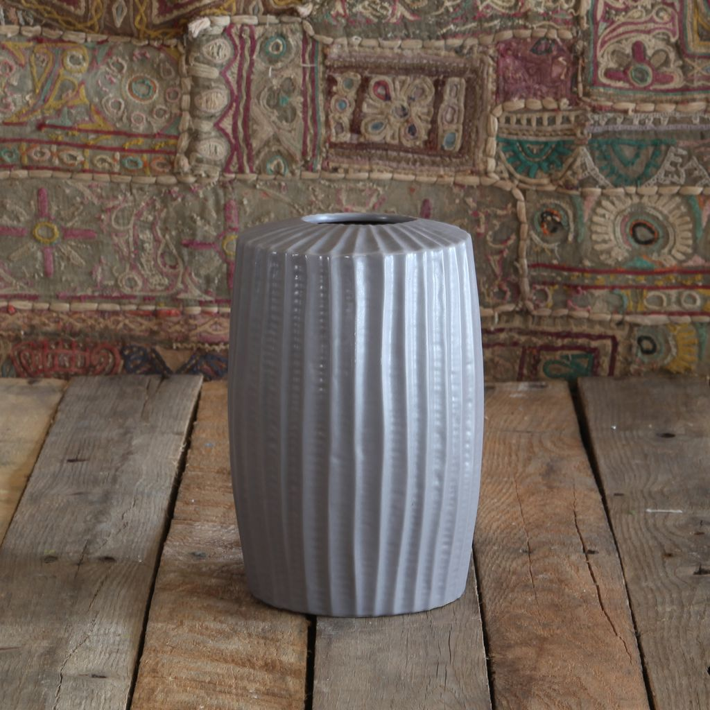 HomArt Latitude Ceramic Vase - Tall Wide - Sm Grey