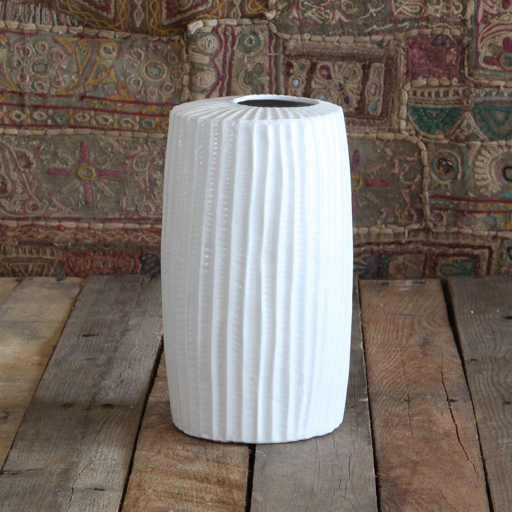 HomArt Latitude Ceramic Vase - Tall Wide - Med Matte White