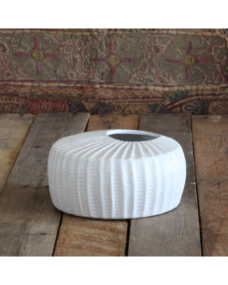 HomArt Latitude Ceramic Vase - Squat - Lrg Matte White