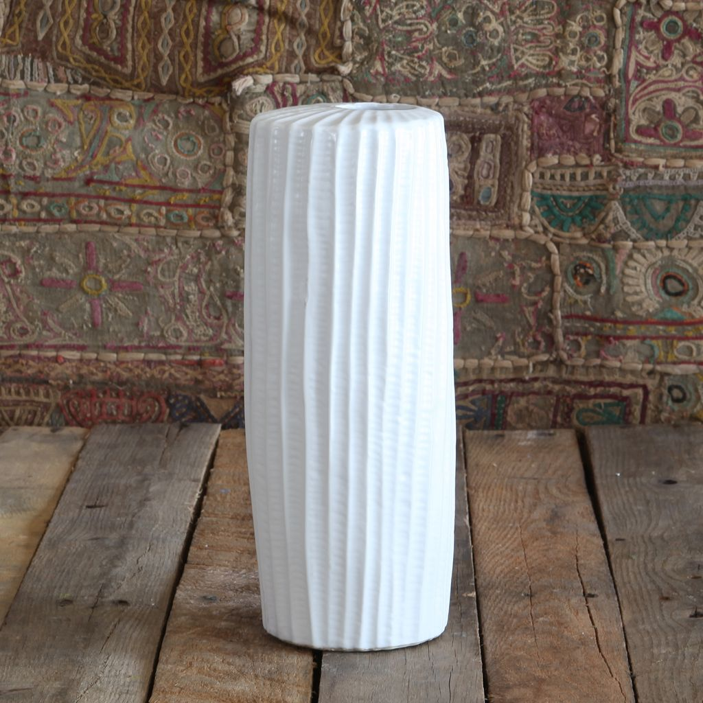 HomArt Latitude Ceramic Vase - Tall Narrow - Lrg Matte White