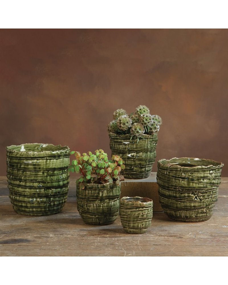 HomArt Burundi Ceramic Cachepot - Lrg Dark Green Crackle