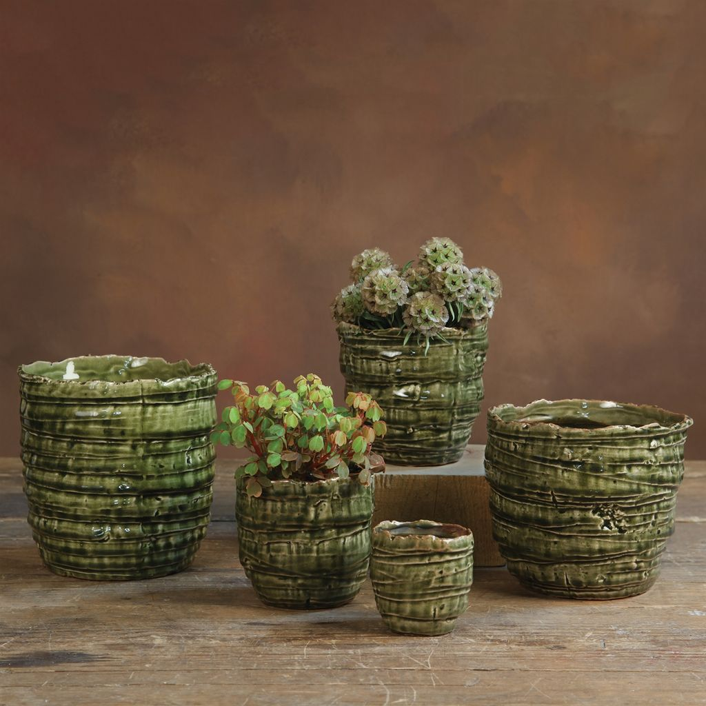 HomArt Burundi Ceramic Cachepot - Lrg Dark Green Crackle