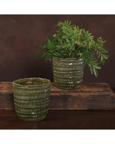 HomArt Burundi Ceramic Cachepot - Ex Lrg - Dark Green Crackle