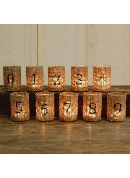 HomArt Burlap Votive Cup - Numbered - 8 - Natural Burlap