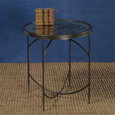 HomArt Carrefour Mirrored Side Table  Antique Nickel & Antique Mirror