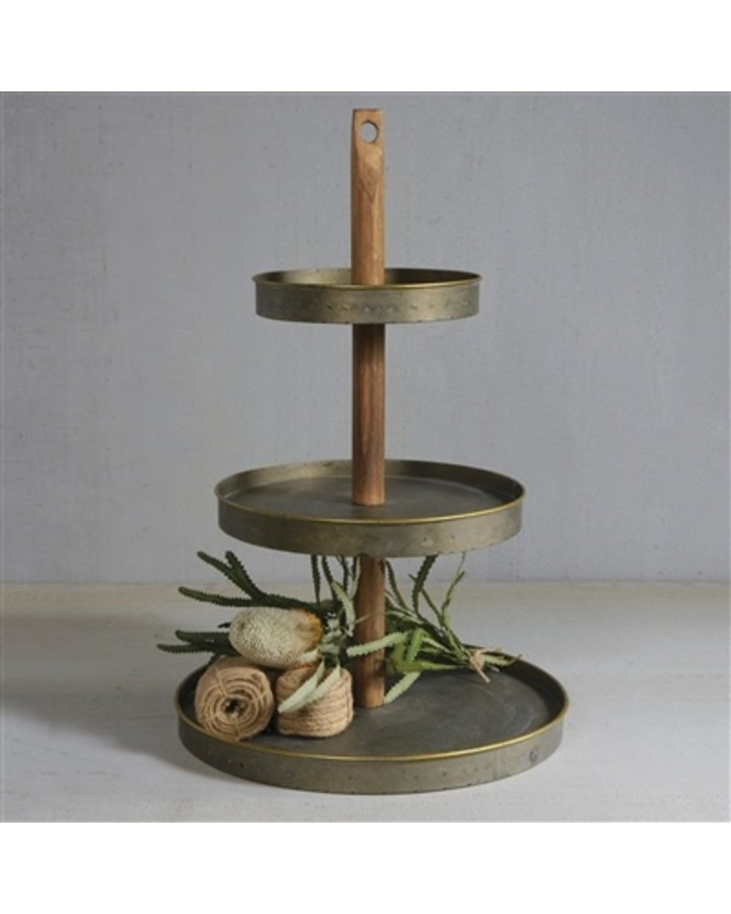 HomArt Archer 3 Tier Galvanized Server  Galvanized with Gold Rim