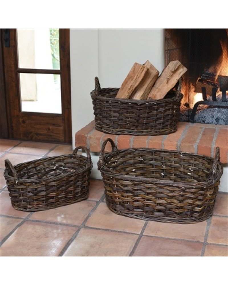 HomArt Willow Baskets Oval - Large - Set of 3