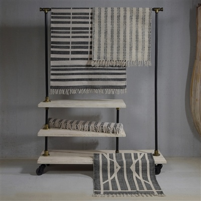 HomArt Block Print Rug Cotton Rug, 4x6  Sawtooth Stripe