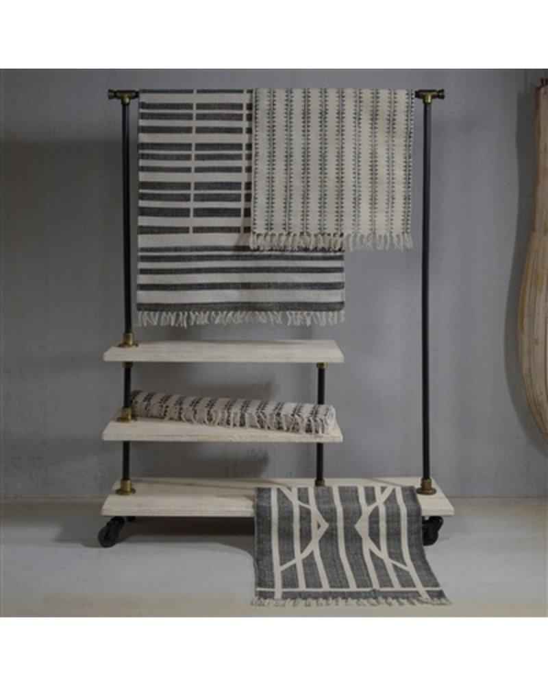 HomArt Block Print Rug Cotton Rug, 4x6  Centerpoint Stripe