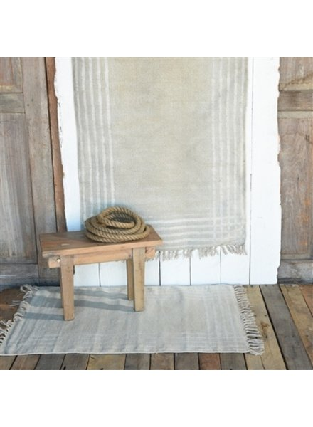 HomArt Summerset Cotton Rug, 4x6  Grey with White Stripes