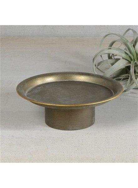 HomArt Archer Galvanized Pedestal - Sm  Galvanized with Gold Rim