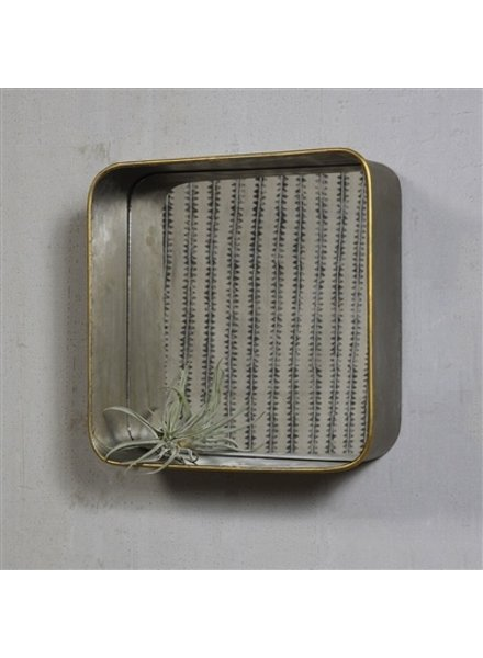 HomArt Archer Galvanized Mirror Shelf - Square  Galvanized with Gold Rim