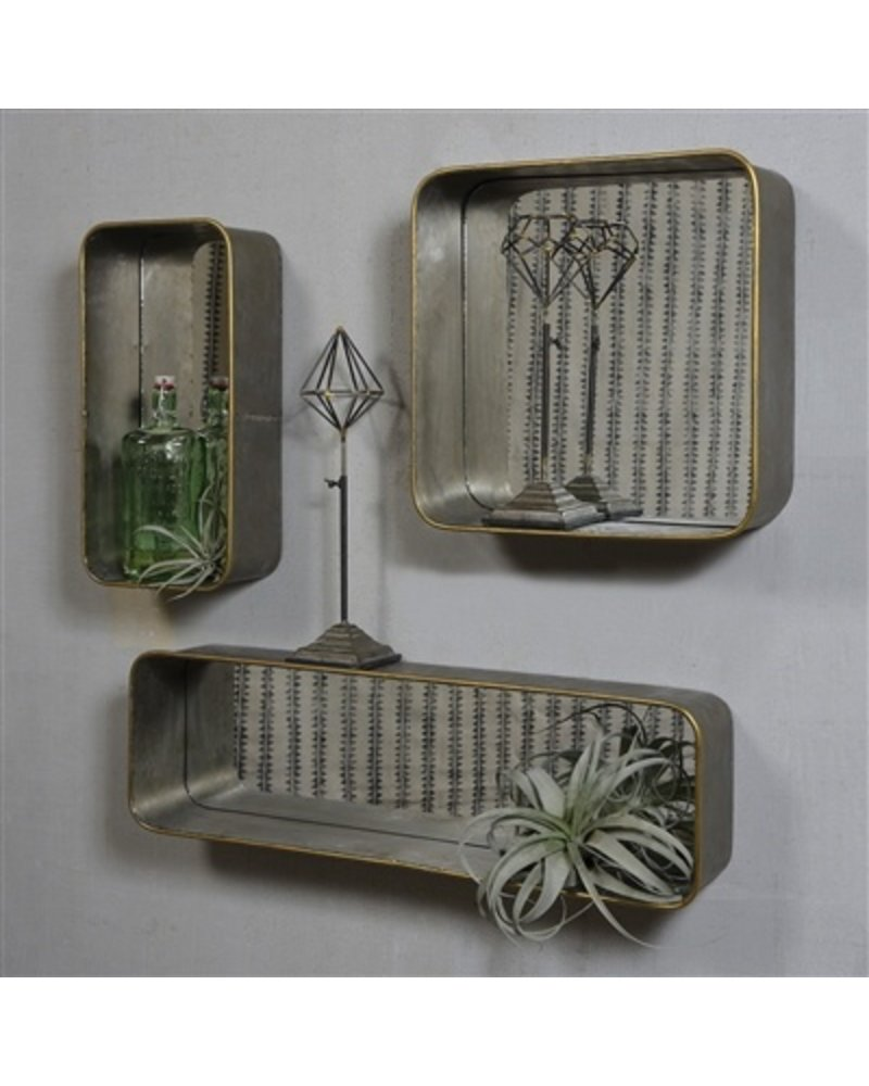 HomArt Archer Galvanized Mirror Shelf - Square  Galvanized with Gold Rim