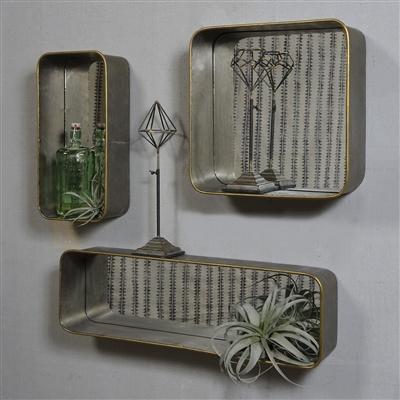 HomArt Archer Galvanized Mirror Shelf - Rect, Sm  Galvanized with Gold Rim