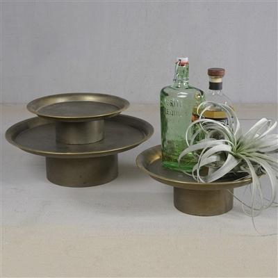 HomArt Archer Galvanized Pedestal - Med  Galvanized with Gold Rim