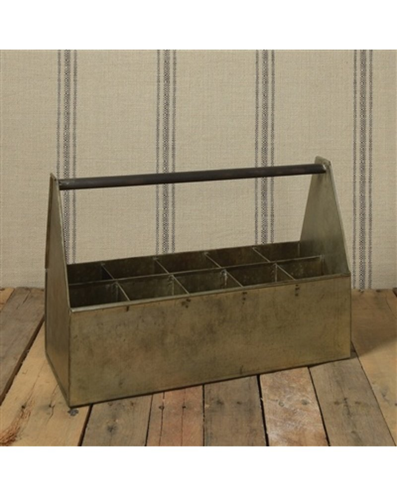 HomArt Fallbrook Bottle Caddy - 10 Bottles  Light Rust Galvanized