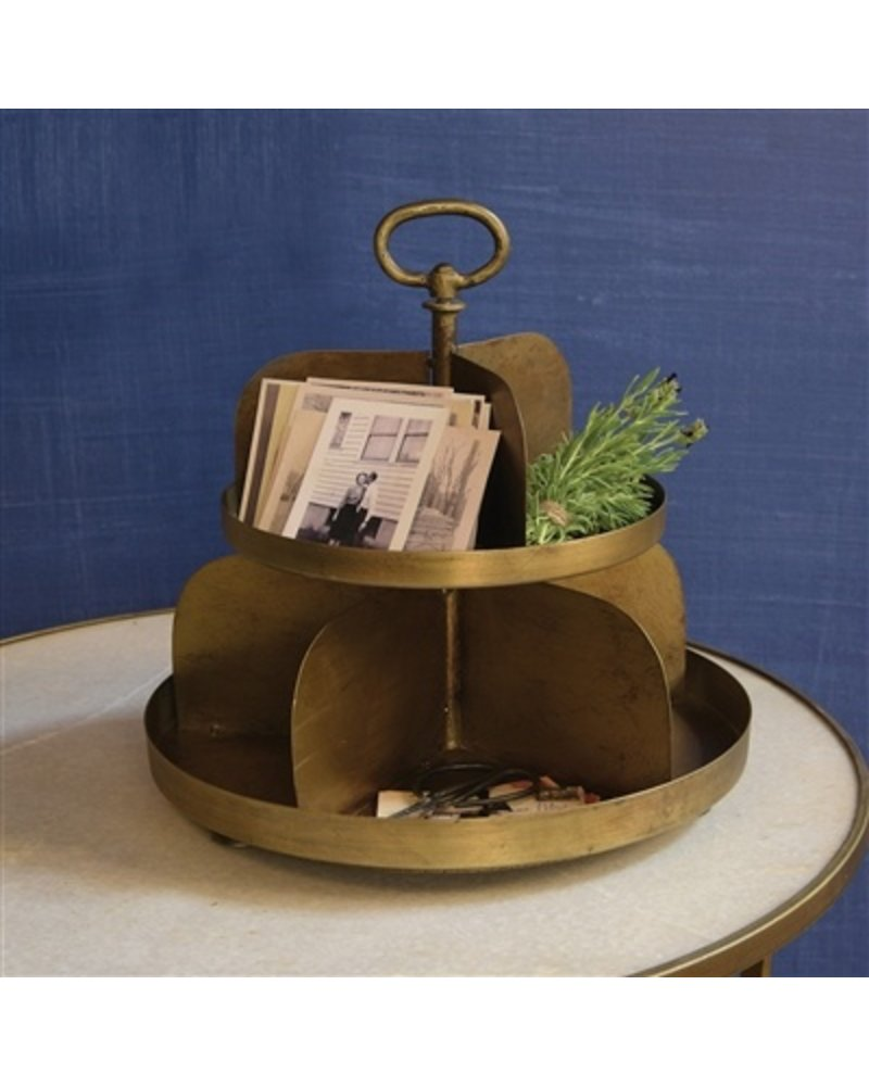 HomArt Merchant 2-Tier Twirling Divided Stand  Antique Brass