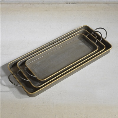 HomArt Archer Galvanized Trays - Set of 3  Galvanized with Gold Rim