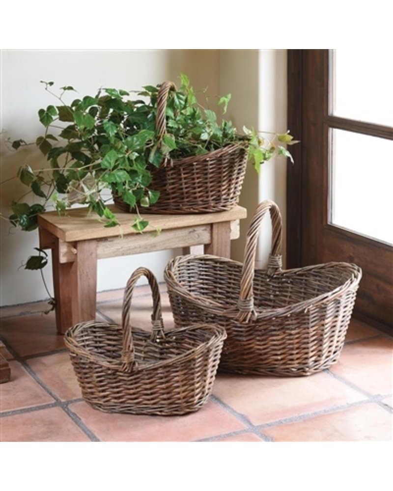 HomArt Willow Baskets Oval With Tall Handles - Set of 3