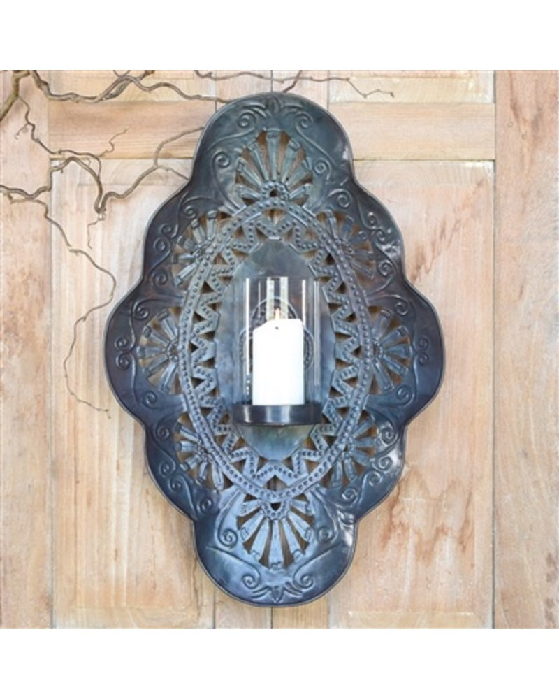 HomArt Sala Iron Wall Sconce with Glass Hurricane