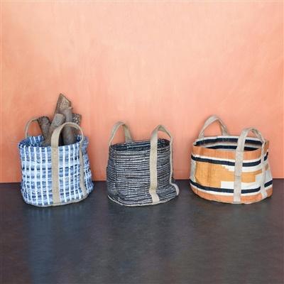 HomArt Woven Storage Leather & Hemp Basket