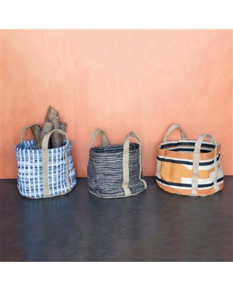 HomArt Woven Jute Storage Tote- Orange & Black