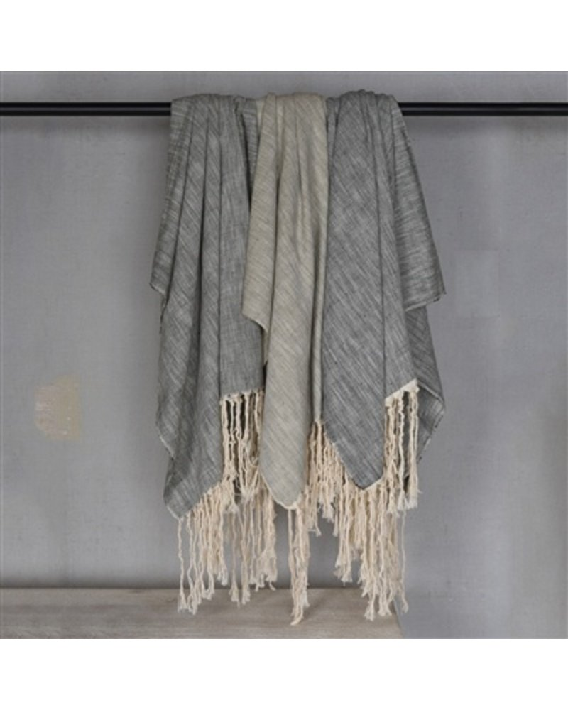 HomArt Thompson Cotton Slub Throw  Grey