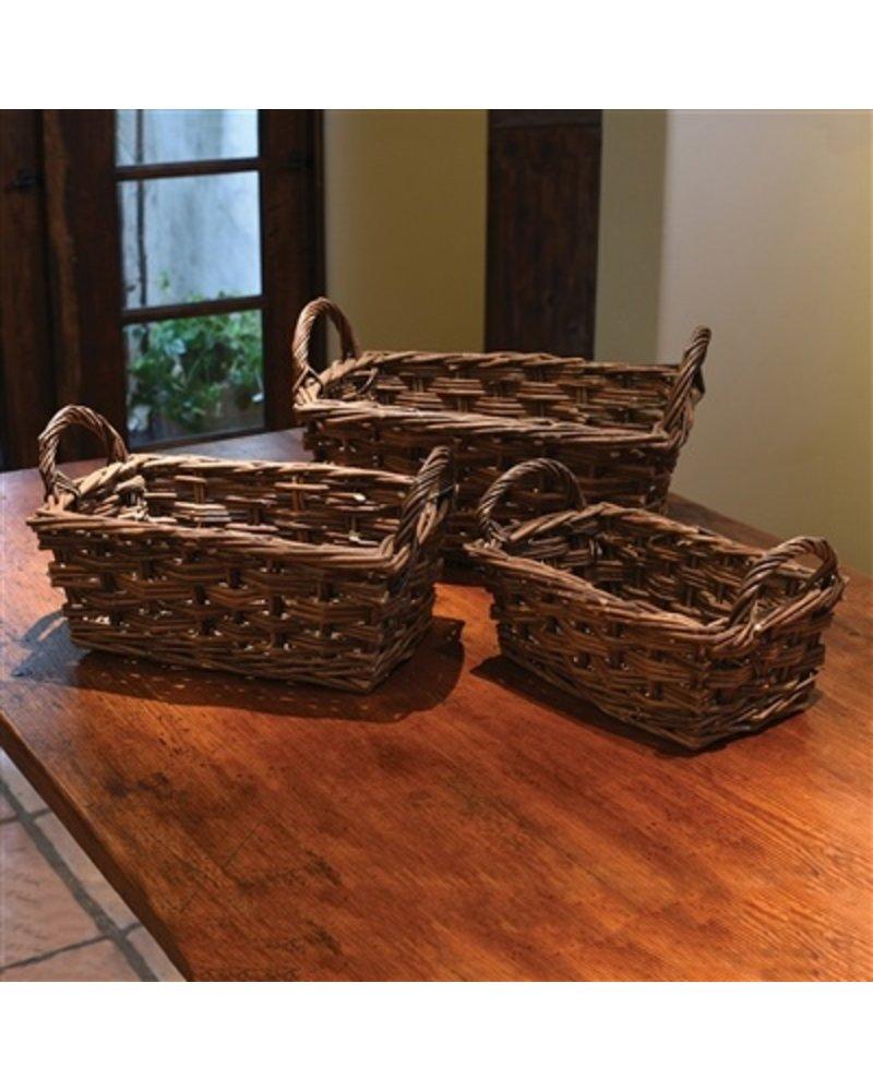 HomArt Willow Baskets Rectangle w/Handles - Set of 3