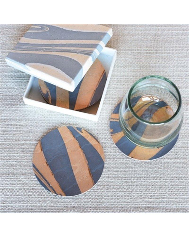 HomArt Marbleized Leather Coasters - Set of 6  Blue