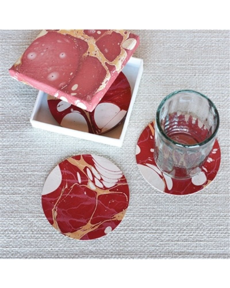 HomArt Marbleized Leather Coasters - Set of 6  Red