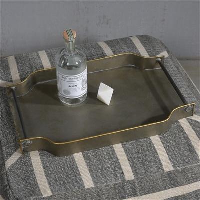 HomArt York Galvanized Tray - Rectangle  Galvanized with Gold Rim