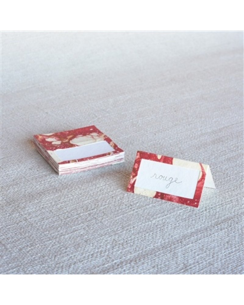 HomArt Marbleized Table Tent Place Cards - Box of 16  Red
