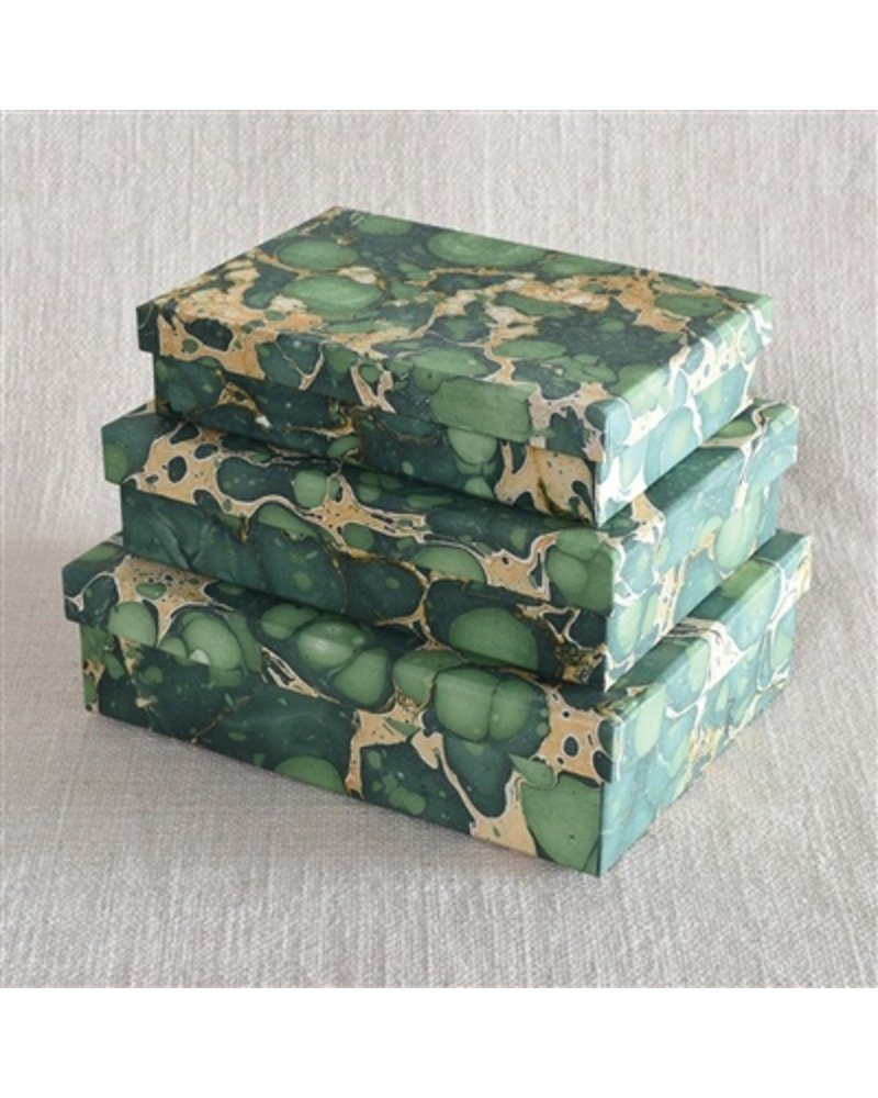 HomArt Marbleized Paper Nesting Boxes - Set of 3 - Green