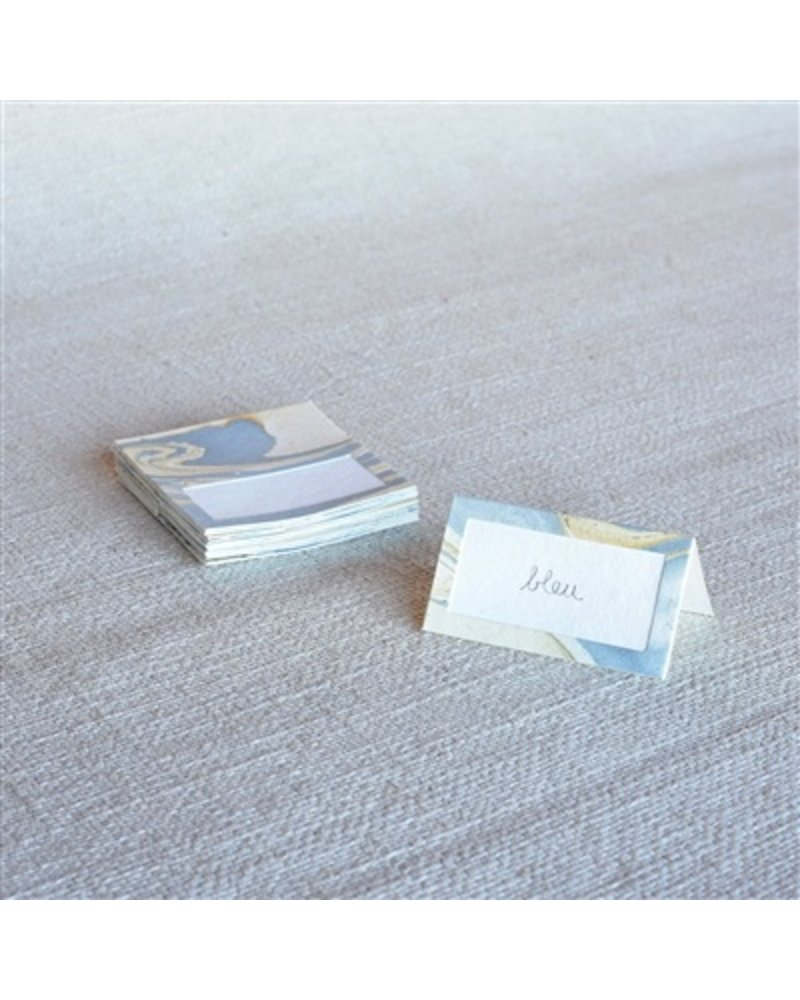HomArt Marbleized Table Tent Place Cards - Box of 16  Blue
