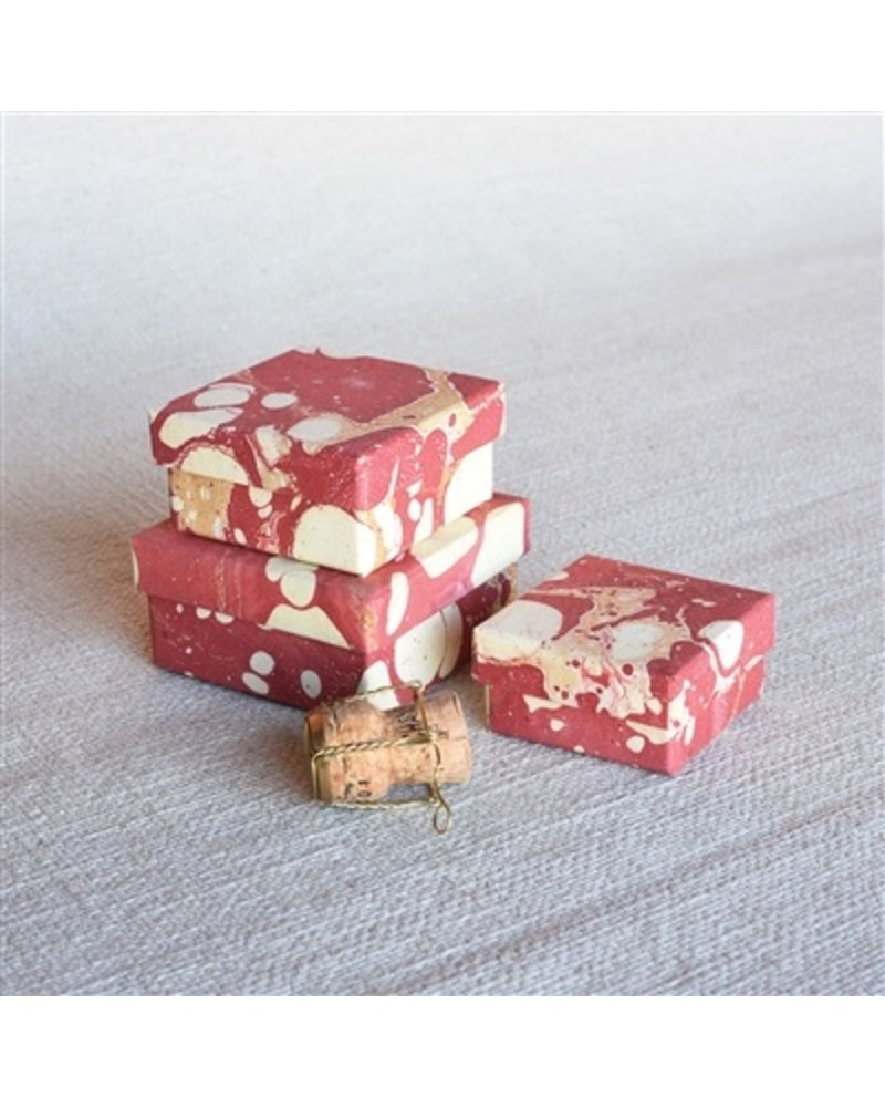 HomArt Red Marbleized Nesting Boxes - Set of 3