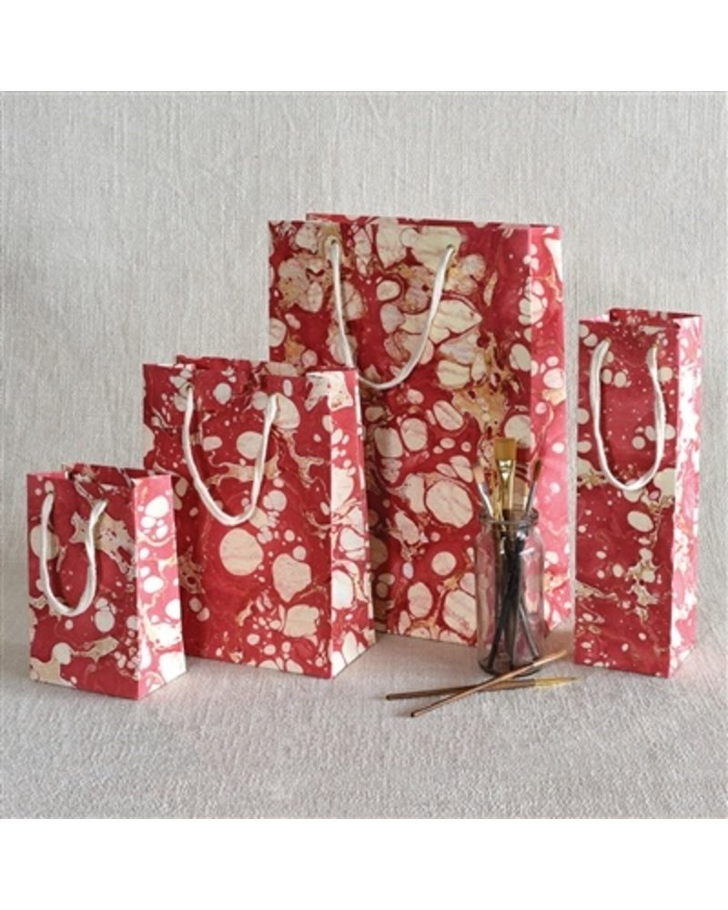 HomArt Marbleized Paper Gift Bag - Med - Red