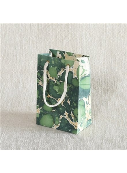 HomArt Marbleized Paper Gift Bag - Sm - Green