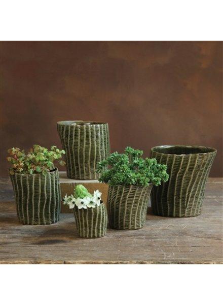 HomArt Nairobi Ceramic Cachepot - Ex Lrg - Dark Green Crackle