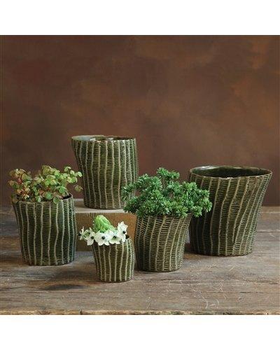 HomArt Nairobi Ceramic Cachepot - Lrg - Dark Green Crackle