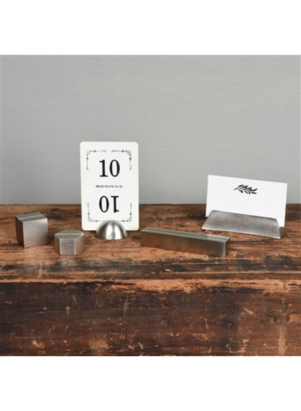 HomArt Nickel Cast Iron Cube Place Card Holder