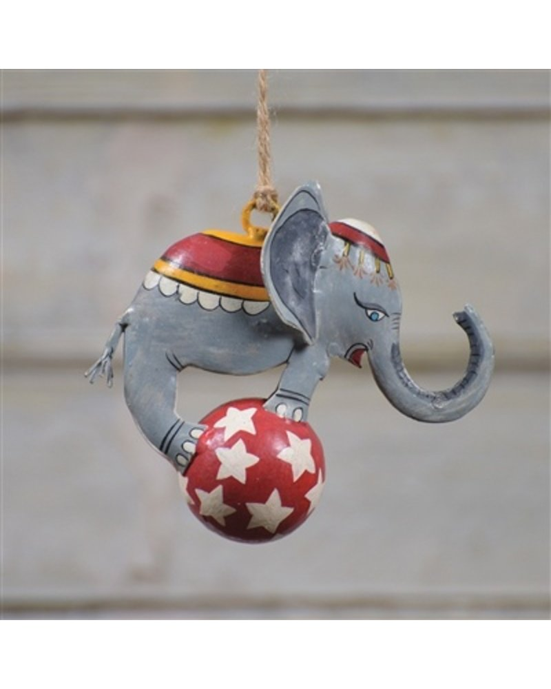 HomArt Painted Metal Circus Elephant Ornament