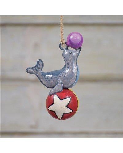 HomArt Painted Metal Circus Seal Ornament