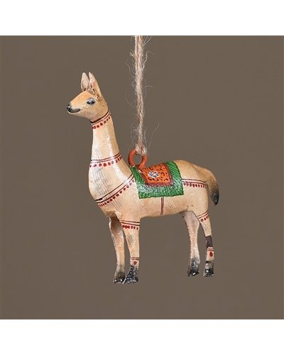 HomArt Painted Metal Festive Llama Ornament