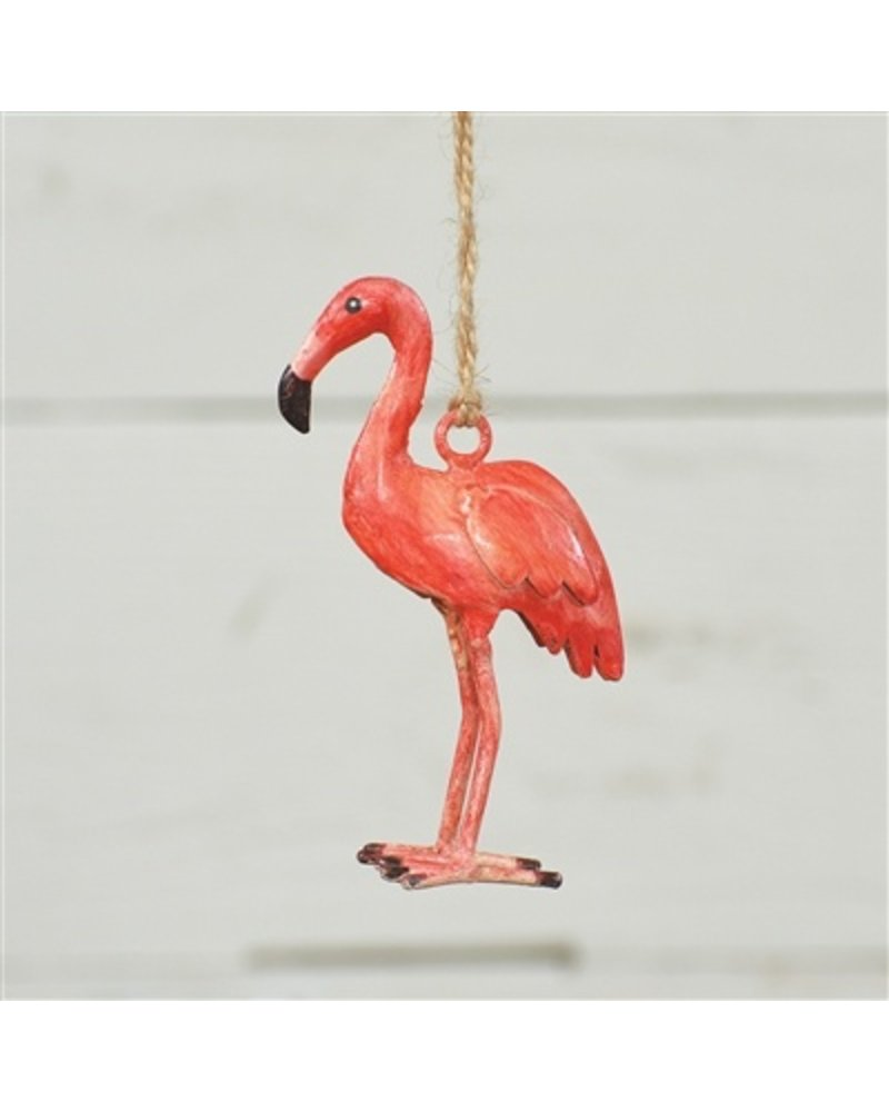 HomArt Painted Metal Flamingo Ornament