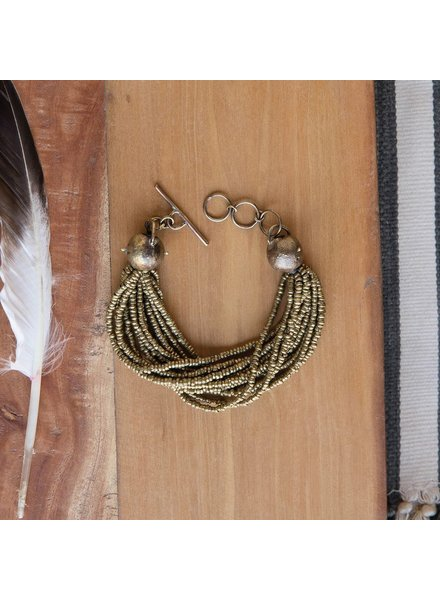 OraTen Nile Brass Bead Strand Bracelet