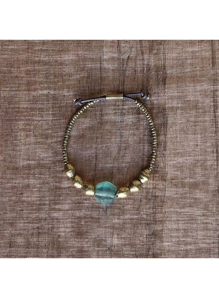 OraTen Seaglass Beaded Brass Bracelet-Aqua