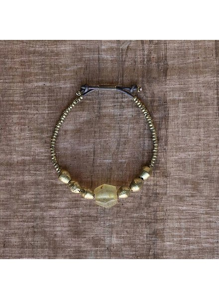 OraTen Seaglass Beaded Brass Bracelet-Amber