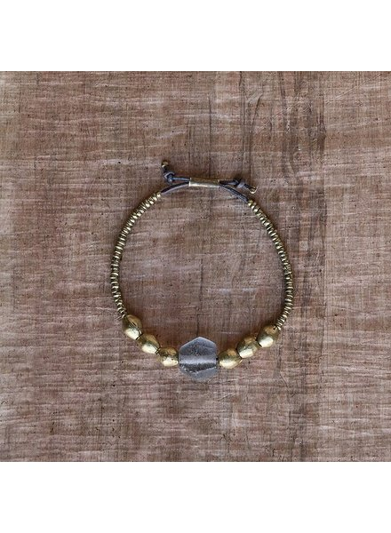 OraTen Seaglass Beaded Brass Bracelet-Grey