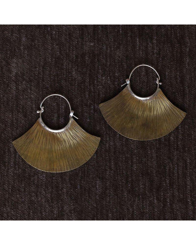 OraTen Brass Earrings, Fan