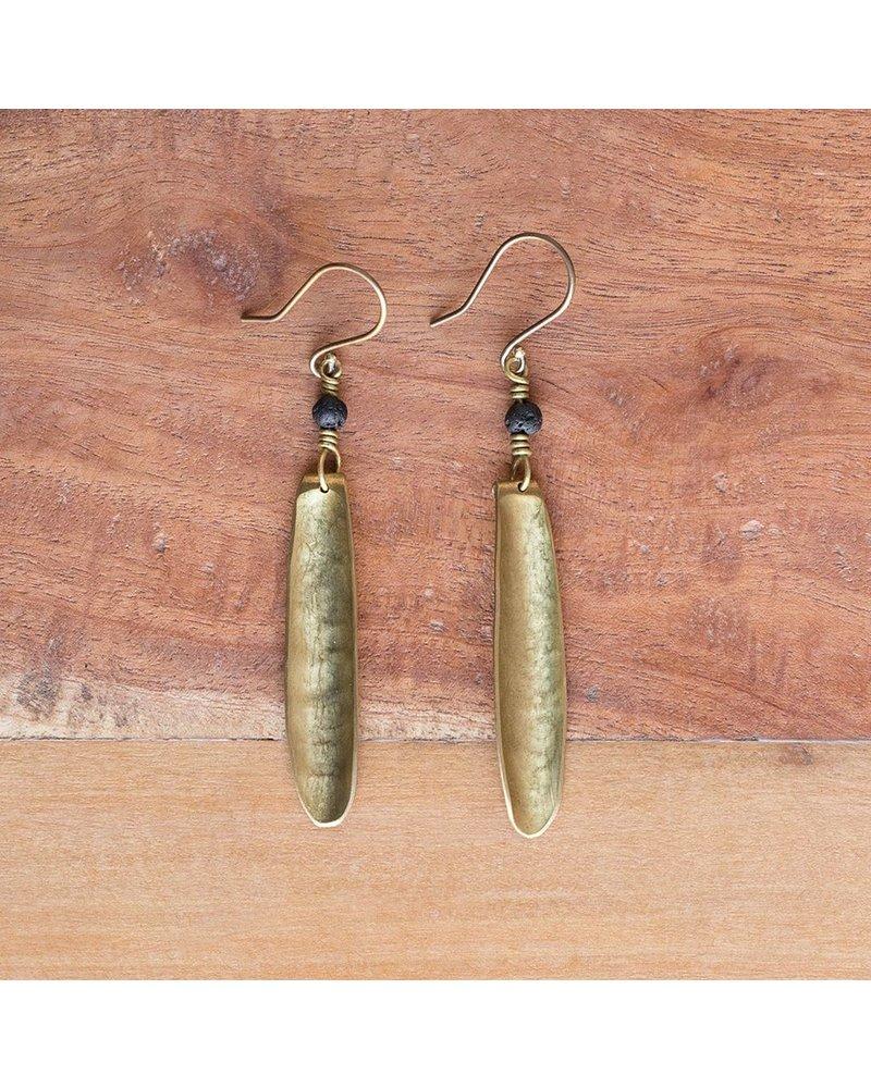 OraTen Kona Brass Earrings, Single-Lava